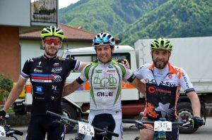 Il podio assoluto: da sinistra Cefuta, Filosi e Gollino
