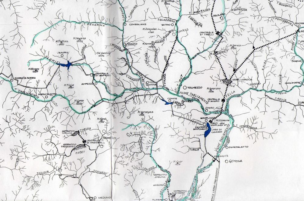 La mappa delle derivazioni SADE in Carnia