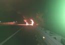 Cisterna di gasolio a fuoco in A4. Vigili del Fuoco in azione. Guarda il video