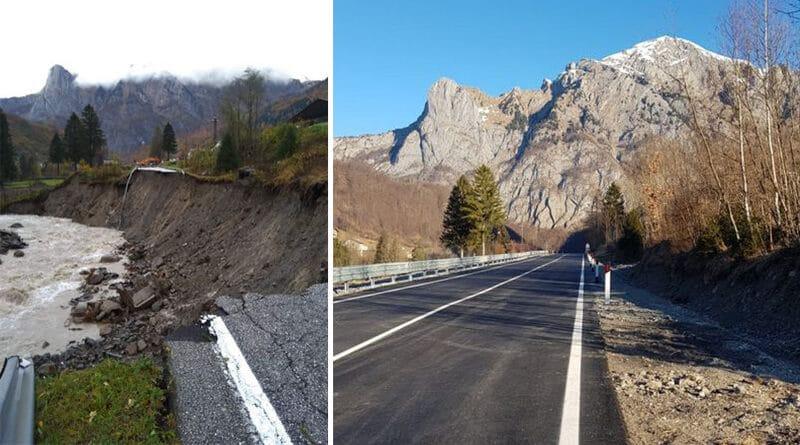 Tempesta Vaia, riapre il tratto della Ss52 bis franato tra Paluzza e Cleulis